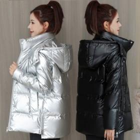 免洗亮面白鸭绒羽绒服女短款韩版新款冬季加厚外套