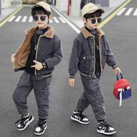 男童冬装套装中大童冬季儿童加绒加厚时尚牛仔两件套