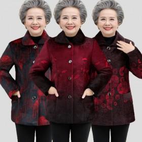 中老年女装秋冬装仿貂毛外套6070岁80奶奶装加绒