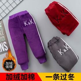 冬季新款棉裤加绒加厚儿童加绒裤男女