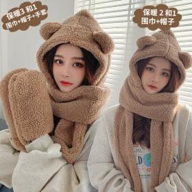 小熊围巾女冬季帽子围巾一体可爱羊羔绒加厚骑车保暖护