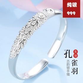 银手镯女镯子时尚光面简约传统
