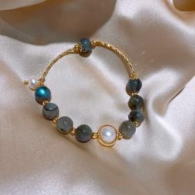真金电镀巴洛克珍珠手链韩国时尚手镯i小众设计个性
