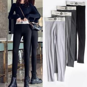时尚潮品高腰九分裤灰色螺纹打底裤女外穿棉高腰弹力