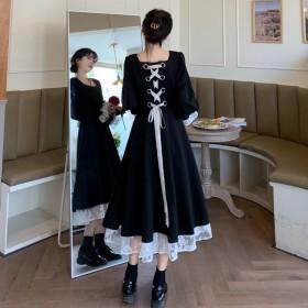 胖mm大码法式复古宫廷法式赫本风连衣裙绑带蕾丝长裙