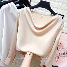 一字领真丝套头衬衫女春季新款丝绸缎面露肩长袖衬衣