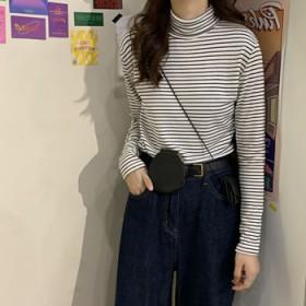 新款韩版高领条纹打底衫长袖T恤