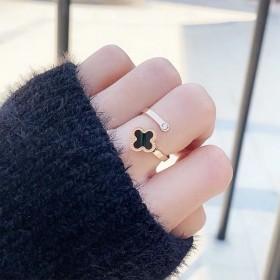 日韩新款简约配饰钛钢戒指女玫瑰金皓石四叶草指环时尚