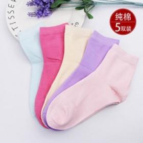 加厚冬季5双女士中筒纯棉袜子保暖纯色糖果色女袜子