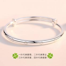 S9999纯银手镯女日韩四叶草女士
