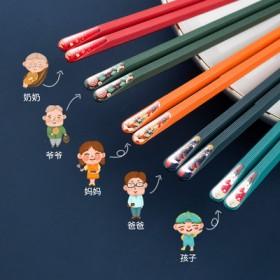 筷子家用防潮日式尖头筷子防滑一人一筷合金筷子分餐子
