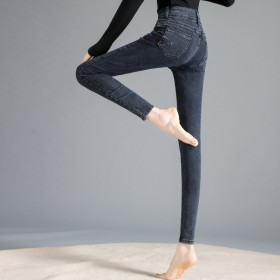 牛仔裤高腰弹力小脚裤春季款