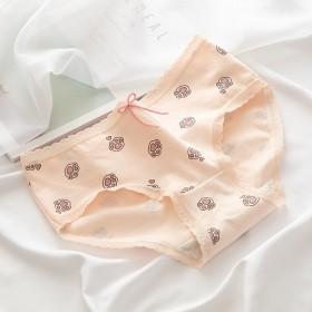 蝴蝶结可爱猫爪日系风少女纯棉中腰学生三角内裤