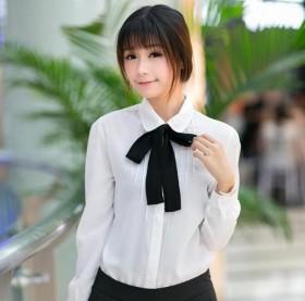 春季衬衫女长短袖修身韩版蝴蝶结娃娃领雪纺衫