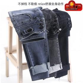 新款高腰牛仔裤女韩版修身显瘦弹力紧身女裤纯色小脚裤