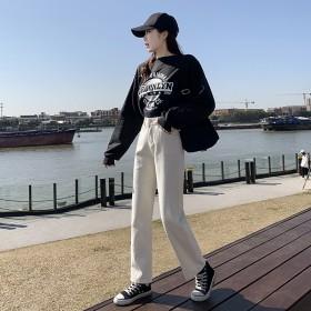 牛仔裤女2021春季新款高腰显瘦阔腿萝卜宽松老爹裤
