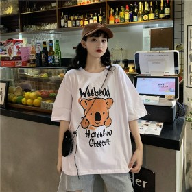 纯棉宽松小熊可爱短袖t恤女白色2021年新款流行