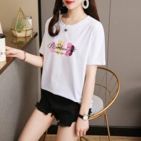 95棉宽松夏季可爱短袖t恤女白色2021年新款