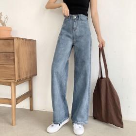 韩版泫雅同款高腰直筒阔腿垂坠感宽松显瘦休闲牛仔裤女