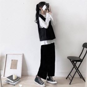 三件套装女2021韩版春秋新款宽松显瘦T恤学生马甲