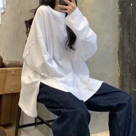 秋装开叉纯色长袖T恤女时尚打底衫韩版潮