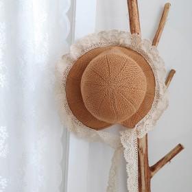 儿童防晒帽夏季亲子遮阳帽复古风蕾丝大檐帽可折叠母女