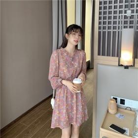 法式小众桔梗初恋裙收腰V领显瘦气质女神范仙女裙