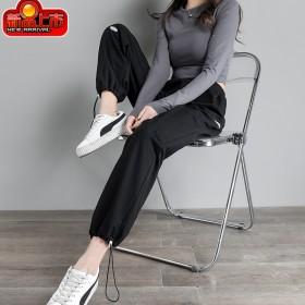 新款卫裤女薄款加长韩版高腰束脚垂感显瘦直筒阔腿运动