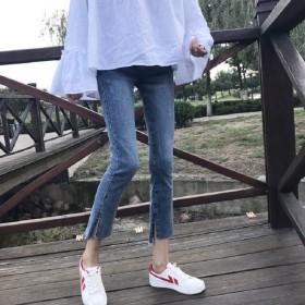 2021春季chic开叉牛仔裤女韩版弹力...