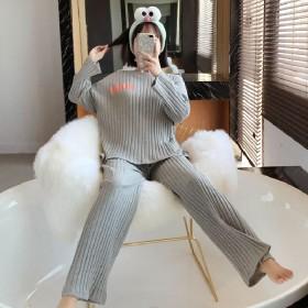 夏季网红新款韩版休闲长袖睡衣套装舒适坑条家居服