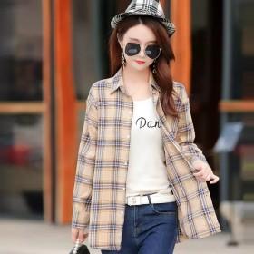 女式长袖大码衬衣女春季时尚百搭潮流修身格子衬衫外套