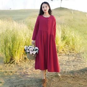 复古女装中国风长袖连衣裙女2021春新款大码大摆裙