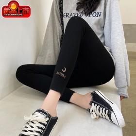 2021春秋新款打底裤女韩版外穿螺纹刺绣女裤显瘦竖