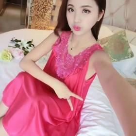夏季睡衣女冰丝性感薄中裙宽松舒适时尚大码胖潮流
