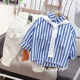 童装男童衬衫套装两件套4一岁宝宝春装2021年新款