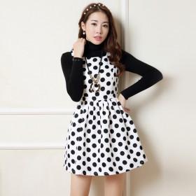 背带连衣裙女白色底黑圆领无袖短裙拉链高腰黑底白点