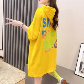 纯棉中长款短袖连帽卫衣百搭上衣学生女T恤2021夏