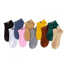 袜子女短袜春夏新款防臭卡通纯棉纯色浅口小熊船袜优质