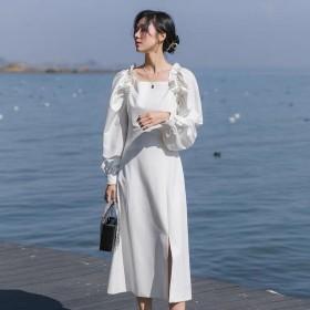2021春季法式简约大方领钉珠荷叶边泡泡袖连衣裙