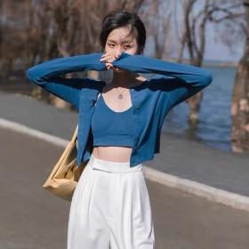 2021春季纯色V领棉垫裹胸背心亲肤针织开衫两件套