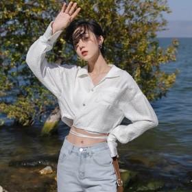 2021春夏季简约纯色开衫短款系带防晒交叠v领衬衣