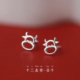 生肖牛年s999耳钉银饰日韩