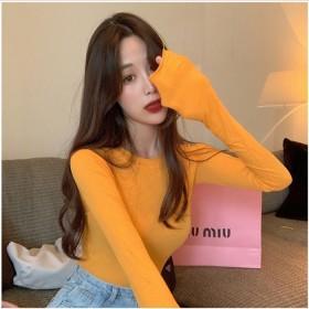 上衣女百搭长袖韩版洋气显瘦减龄春秋打底衫内搭薄款