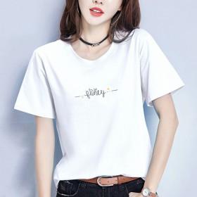 2021夏季新款印花短袖t恤女装宽松韩版学生白色