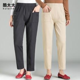 中老年女裤高腰大码