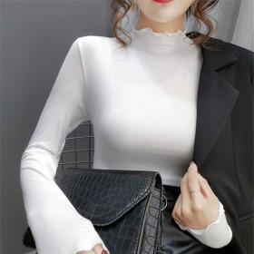 2020木耳边半高领打底衫女内搭新款韩版显瘦修身长