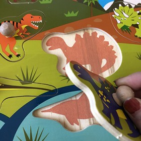 木制恐龙手抓板形状认知拼图立体动物