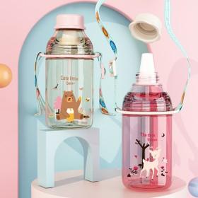 儿童宝宝幼儿园两用吸管杯 男女宝倒水保温杯 不锈钢