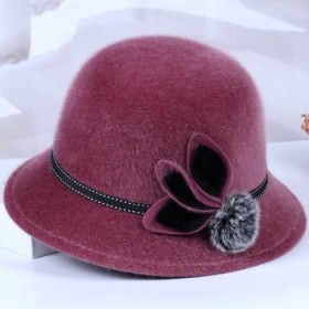 中老年人帽子女秋冬毛呢盆帽加厚渔夫帽老人奶奶帽