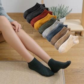 袜子女 春夏新款日系抽条船袜女 纯色透气全棉短袜棉